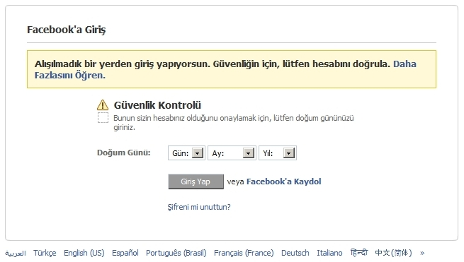 Facebook Proxy Mesajı